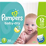 Pampers Baby Dry Newborn Diapers Size 1, 252 Count
