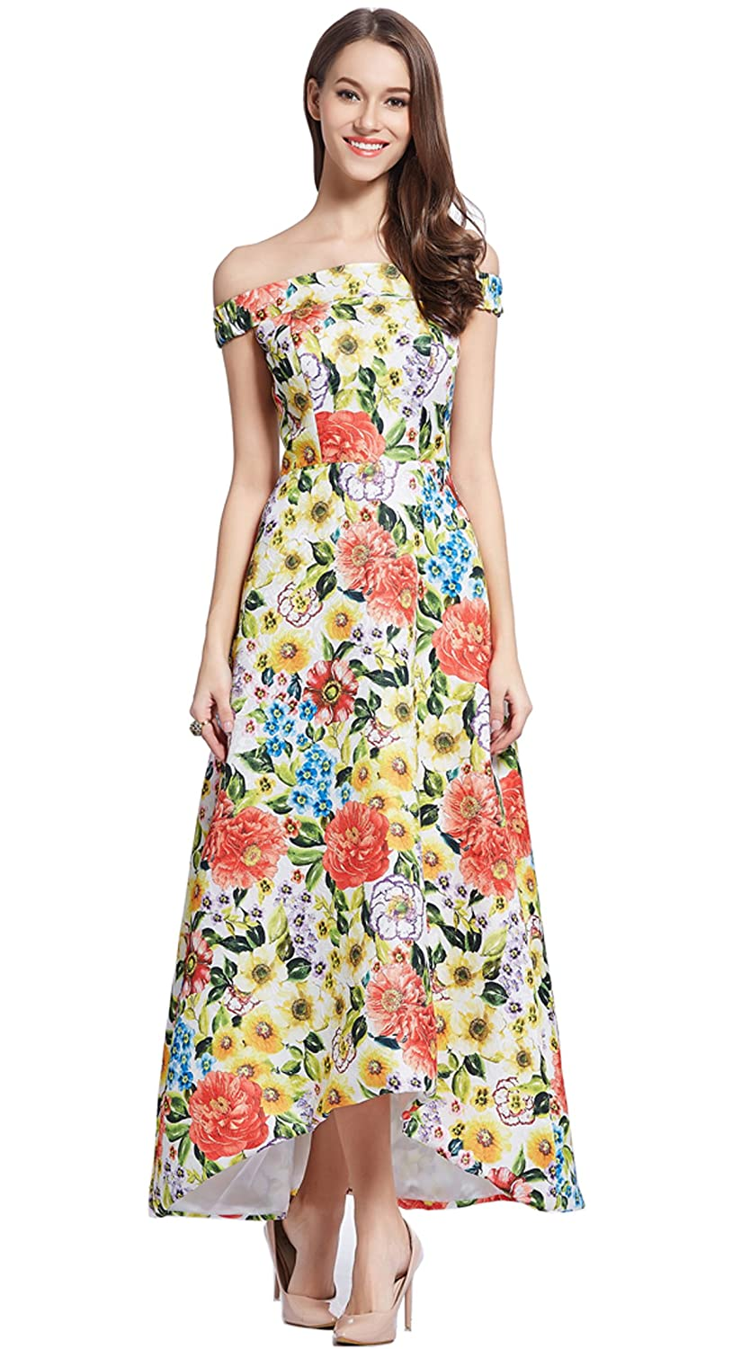 Merope J Womens Boat Neck Floral Maxi Prom Wedding Cocktail Dress