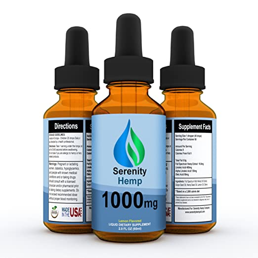 Serenity Hemp Oil - Lemon Flavor - 2 fl oz 1000 mg - Certified Organic - 99.9% Pure Full Spectrum Hemp Extract - For Pain - Stress - Anxiety