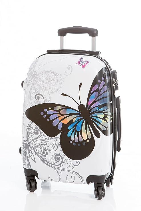 Maleta Grande Mariposa Blanca 76x48x28 cm 4 ruedas, con candado de combinación