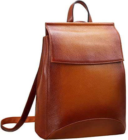 Heshe Womens Leather Backpack Casual Style Flap Backpacks Daypack for Ladies Sorrel