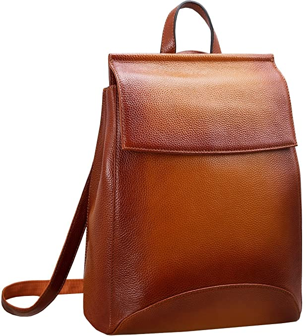 Heshe Womens Leather Backpack Casual Style Flap Backpacks Daypack for Ladies (Sorrel)