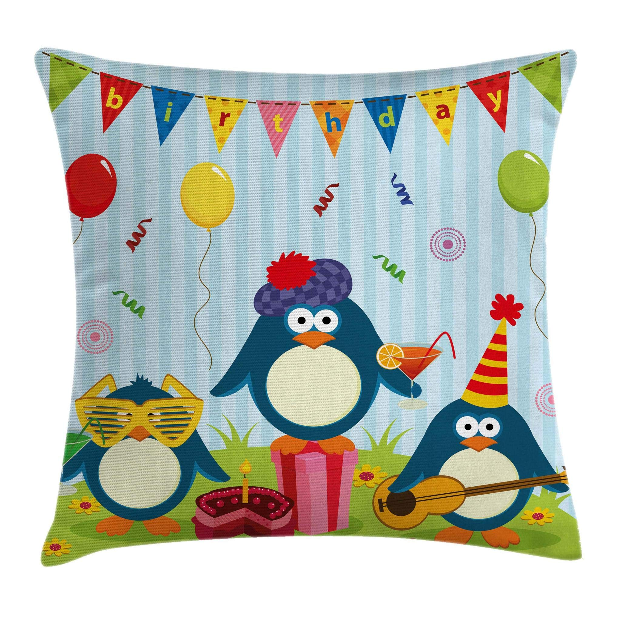 Ambesonne Birthday Decorations for Kids Throw Pillow Cushion Cover, Cartoon Penguin Party with Flags Cakes and Box, Decorative Square Accent Pillow Case, 18 X 18 Inches, Light Blue and Fern Green