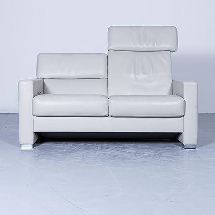 Hochwertig Brühl U0026 Sippold Designer Sofa Grau Leder Zweisitzer Couch Funktion  Echtleder Modern #4152