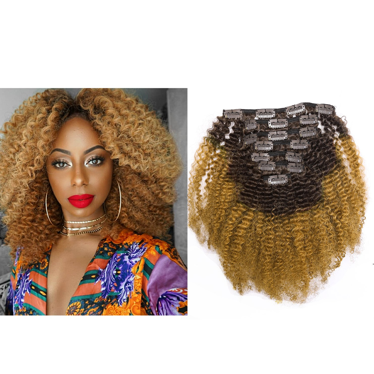 8 a grade ombre capelli umani clip in Remy Hair extensions 10 – 55, 9 cm nero a rosso bordeaux # 1B/99J bicolore 4B 4 C afro Kinky Curly Balayage naturale dei capelli clip on Lacer