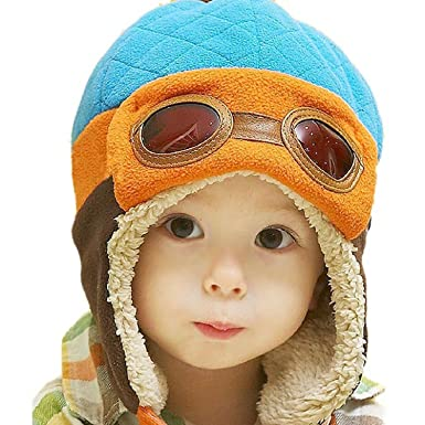 42d6b3f26bf WITERY Unisex Baby Kids Toddler Hats Winter Warm Cap Hat Beanie Flight  Pilot Aviator Caps Hats Blue  Amazon.co.uk  Clothing