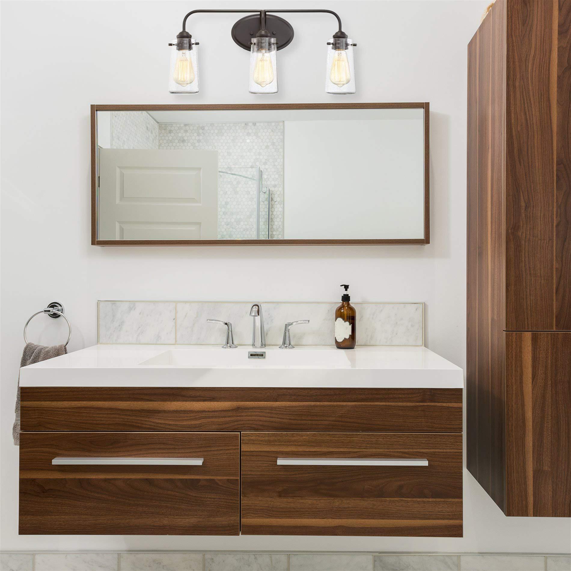 Kira Home Rayne 22.5'' Modern 3-Light Vanity/Bathroom Light, Seeded Glass + Matte Black Finish by Kira Home (Image #4)