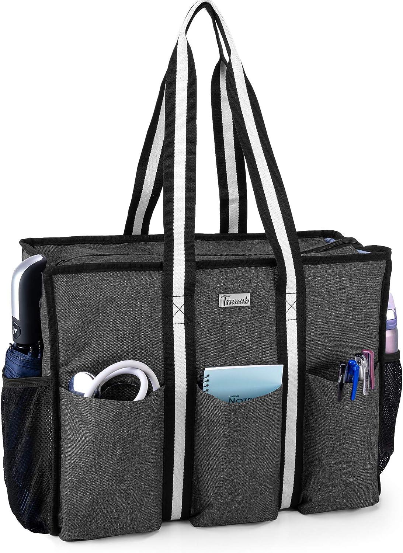 Trunab Nurse Bag and Tote for Work with Padded Laptop Sleeve, Nursing Bag with Multiple Pockets for Hospice Visit, Home Health Care, Nursing Students, Black, Bag Only