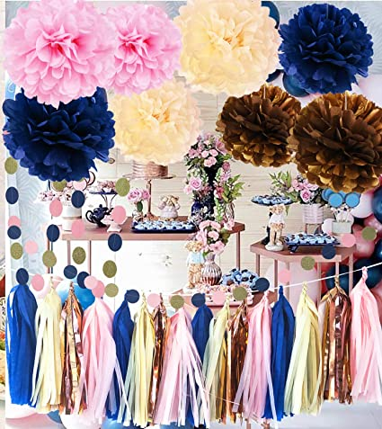 Amazon Com Qian S Party Navy Pink Gender Reveal Party Supplies