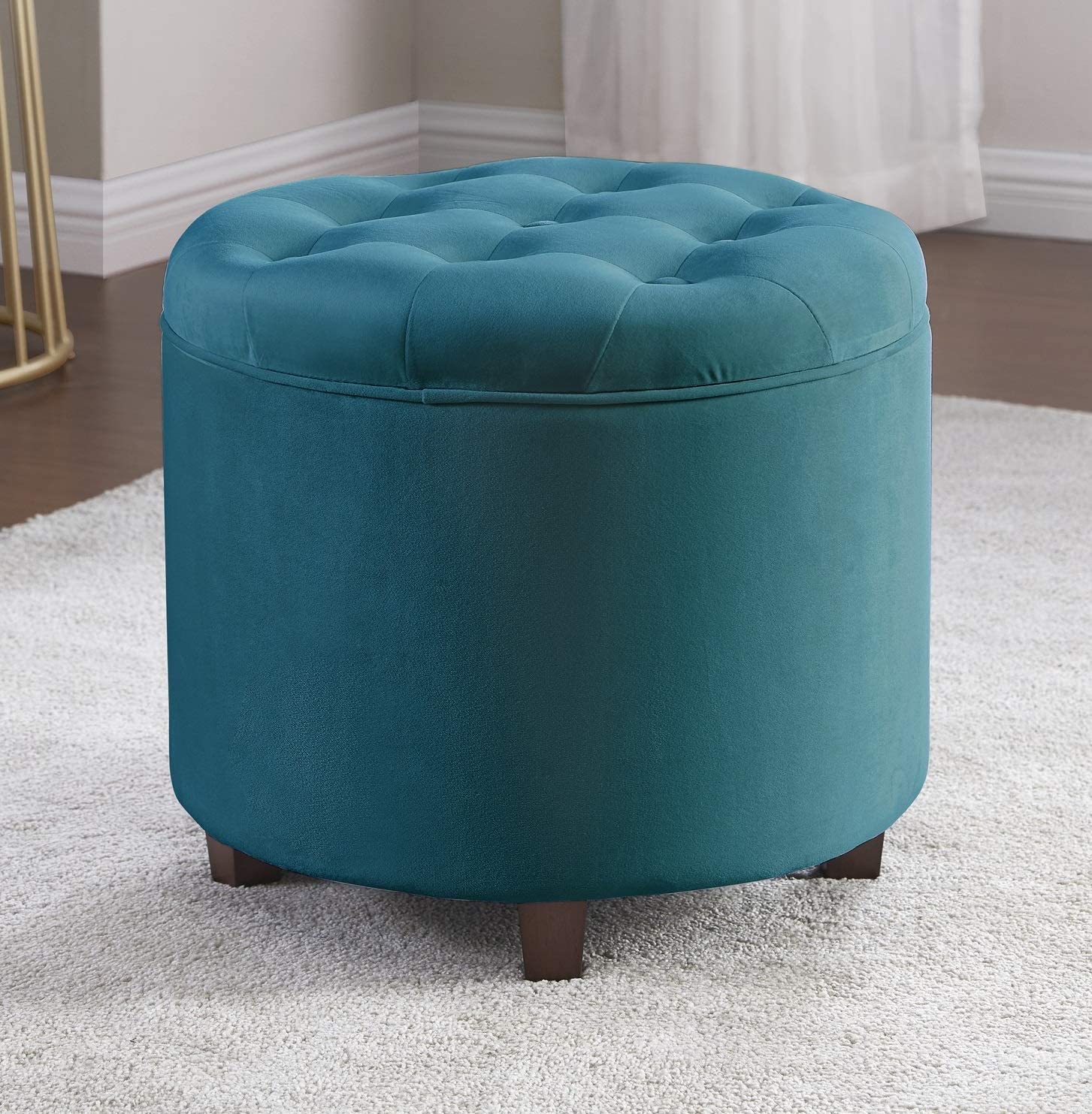 Ornavo Home Donovan Round Tufted Velvet Storage Ottoman Foot Rest Stool/Seat