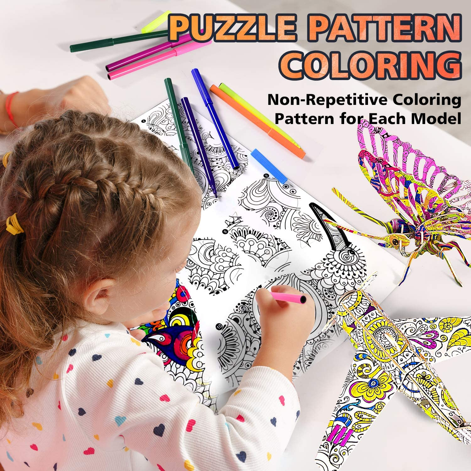 Arts and Crafts kit for Girls and Boys Age 8-10 3D Coloring Puzzle Set