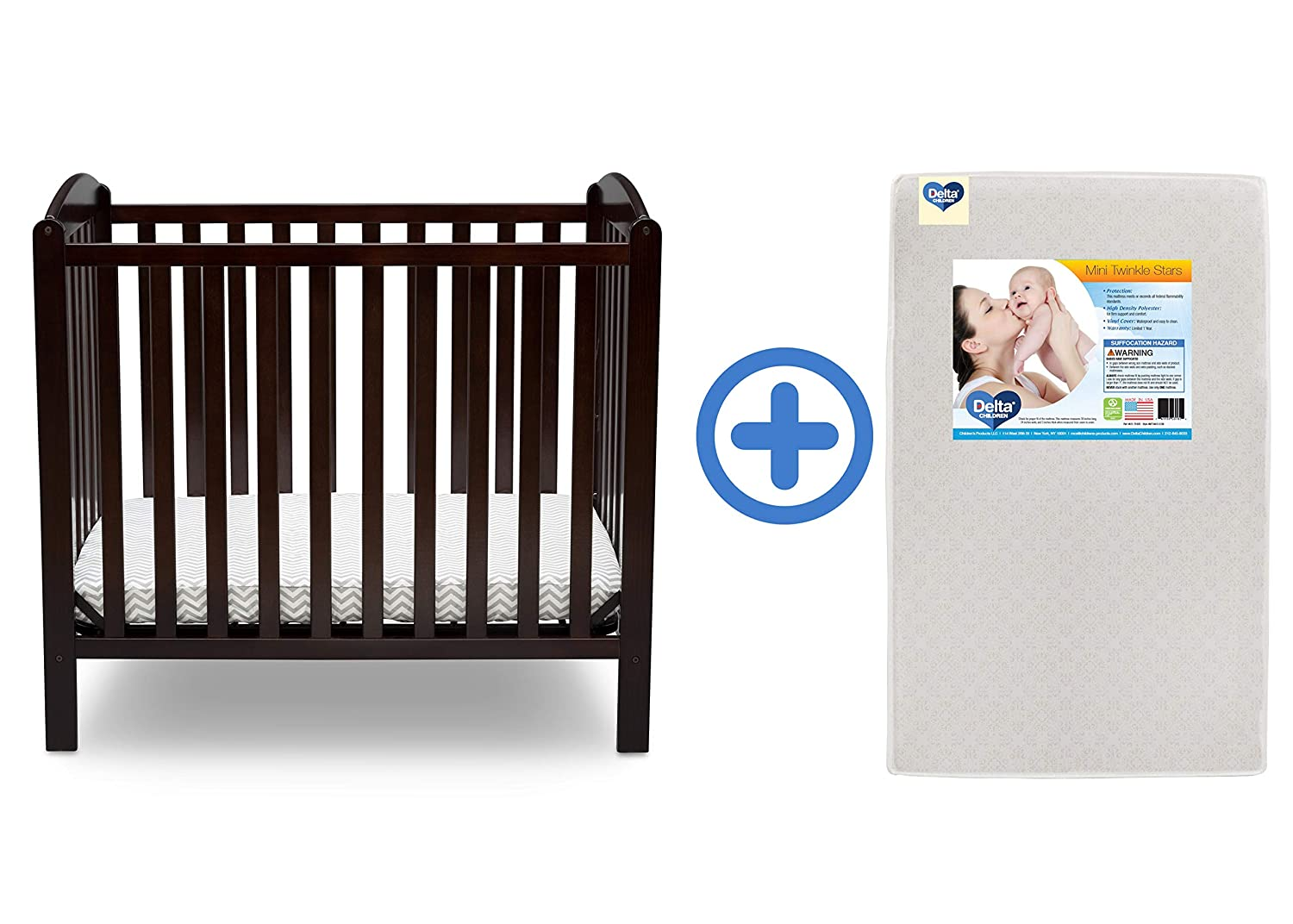 Delta Children Emery Mini Convertible Baby Crib & Twinkle Stars 3-Inch Waterproof Mini Crib Mattress,...