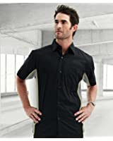 TRM Men's GT-3 Ultracool Contrast Panels Short Sleeve Crew Mesh Knit Woven Shirt