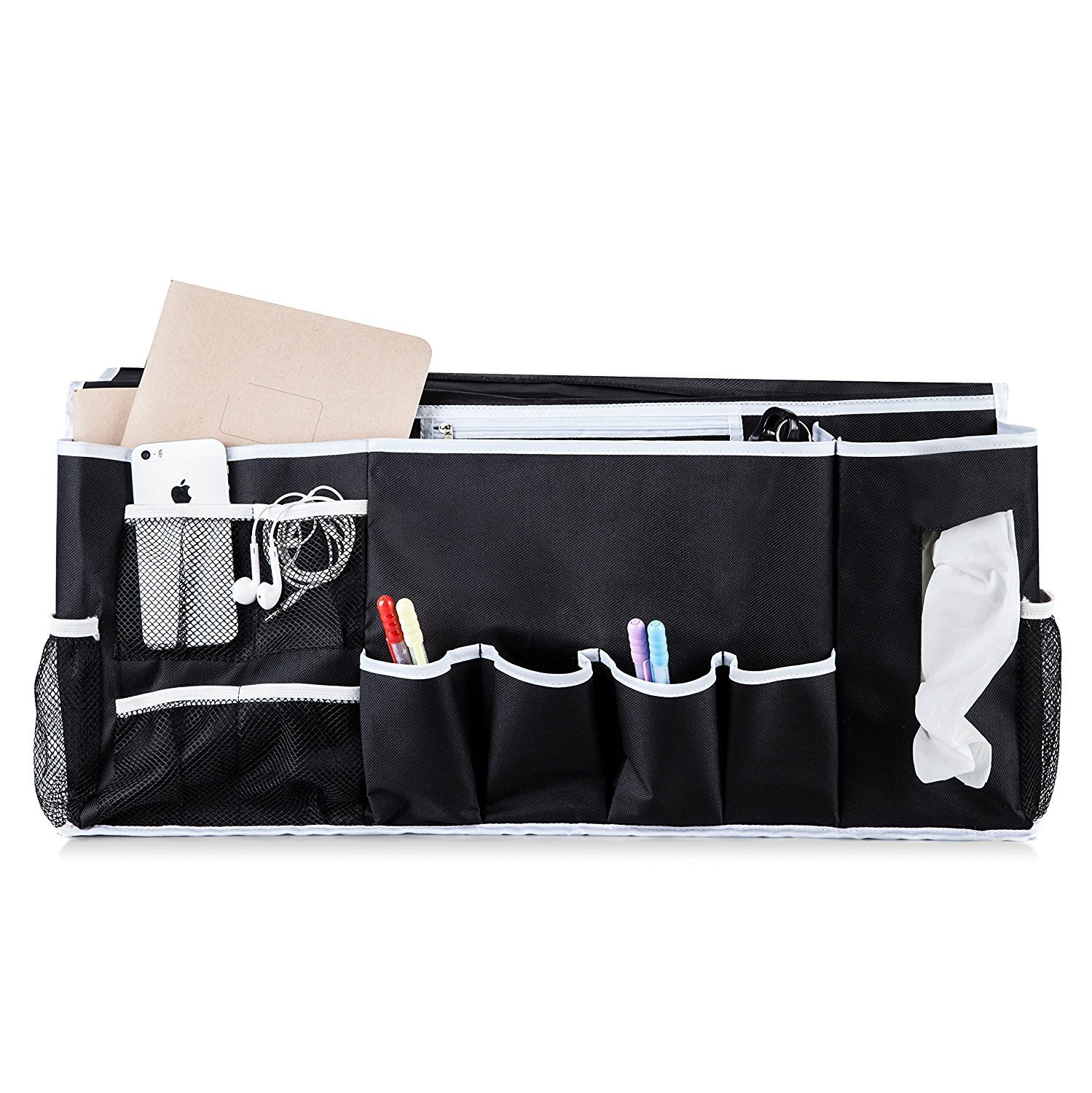 WeeDee Bedside Caddy Hanging Storage Organizer - 12 Pockets Perfect for College Dorm Rooms and Bunk Beds, Large Size Holds Your Laptop, Books, Tablet, Phone, Water Bottle, and More by WeeDee