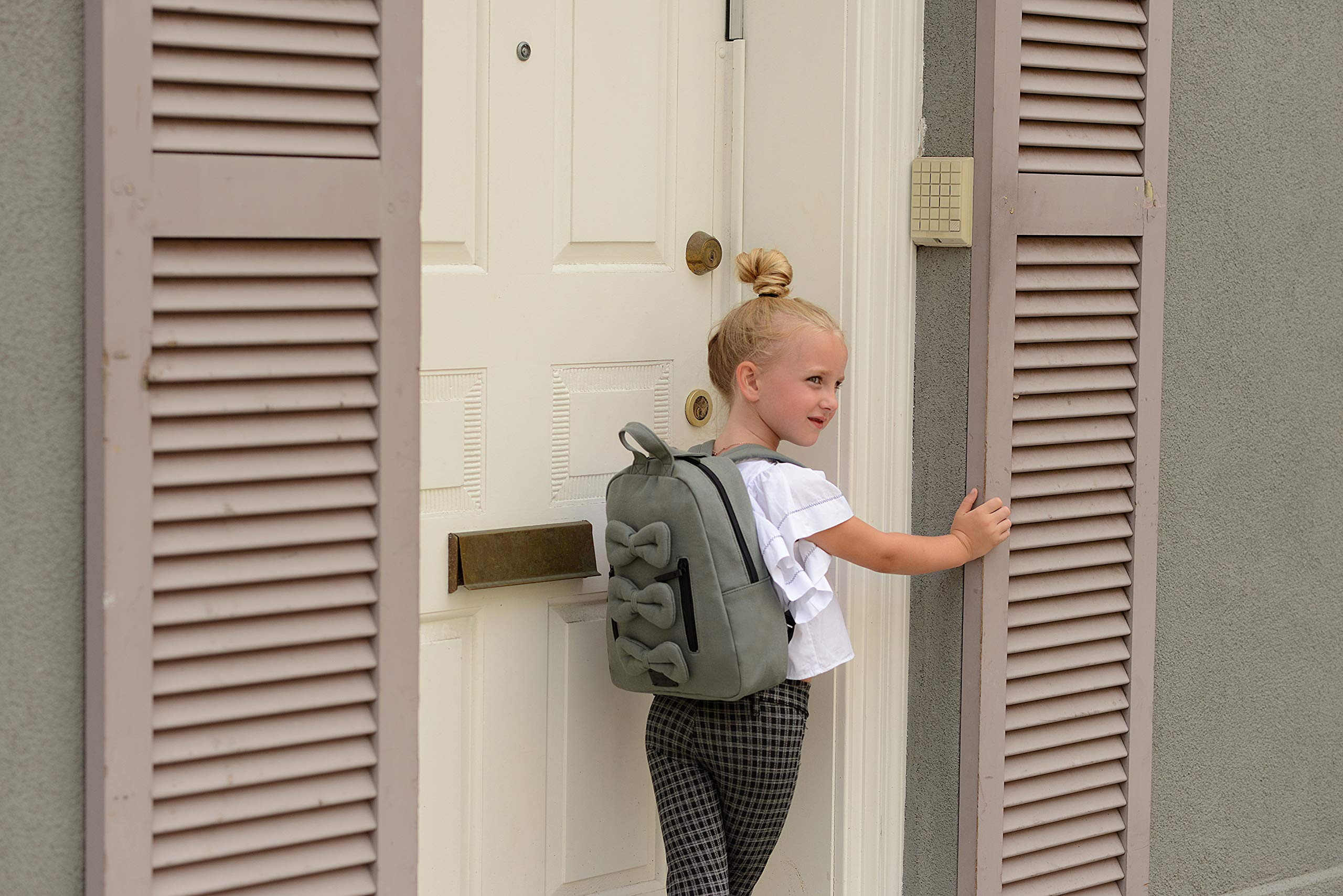 7AM Voyage Mini Bows Cotton Backpack, Toddlers, Kids and Teens School Backpack (Shadow) by 7AM Voyage (Image #3)