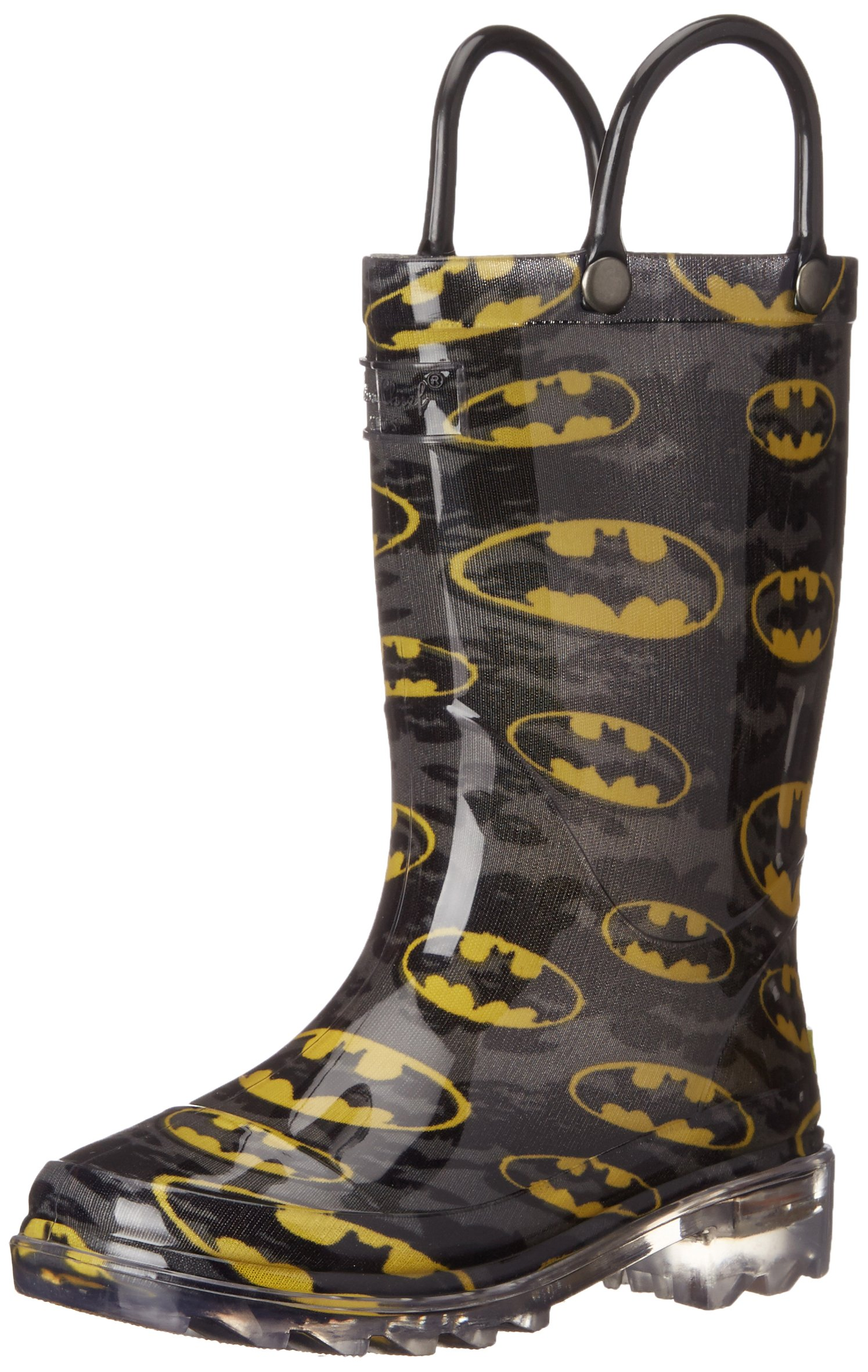 Western Chief Kids Waterproof D.C. Comics Character Rain Boots with Easy on Handles, Light-up Batman, 13 M US Little Kid
