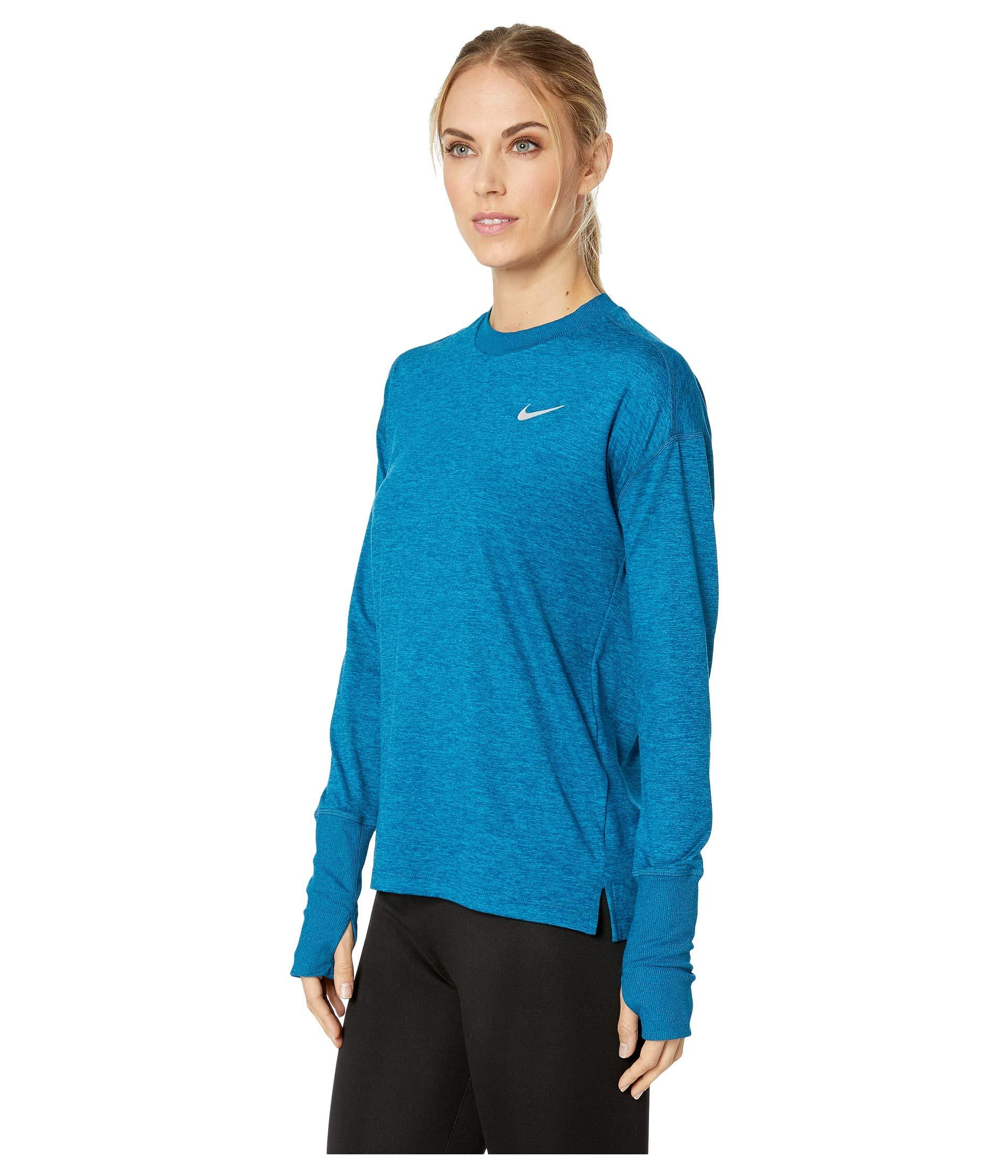 Nike Women's Element Long Sleeve Running Shirt (Blue Force/Green Abyss, X-Small)