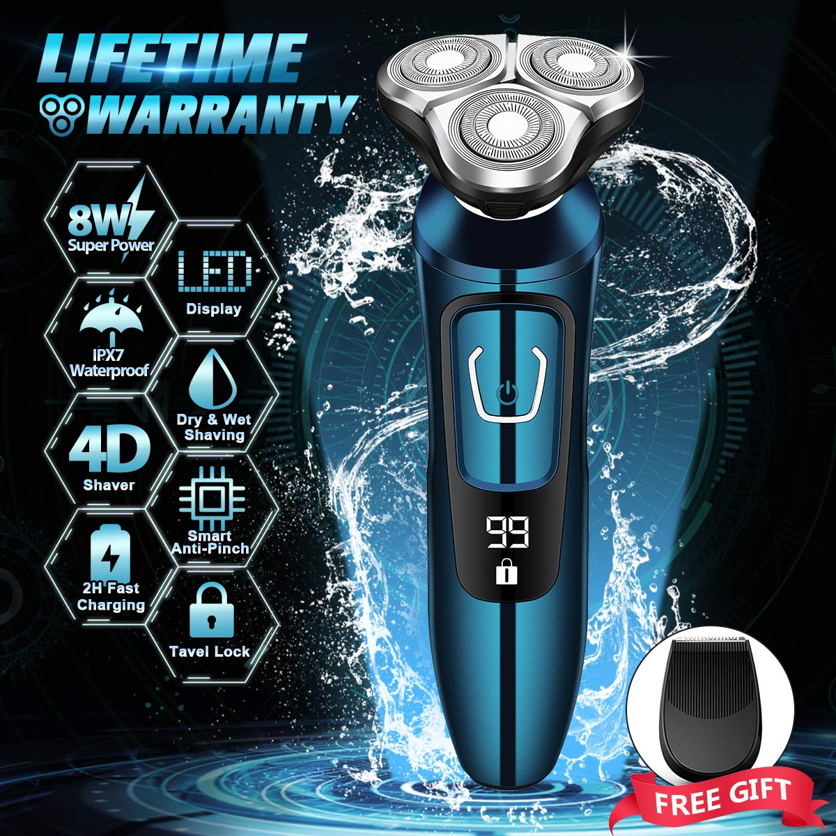 Electric Razor, Electric Shavers for Men, Dry Wet Waterproof Mens rotary facial shaver, Portable Face Shaver Cordless Travel USB Rechargeable with Beard Trimmer LED Display for Shaving Husband Dad by Vifycim