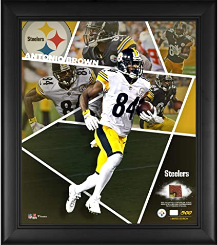 "3844bbc05f5 Antonio Brown Pittsburgh Steelers Framed 15"" x 17"" Impact Player  Collage with a Piece"