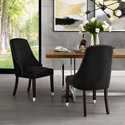 Amazon Com Inspiredhome Black Velvet Dining Chair Design Aria