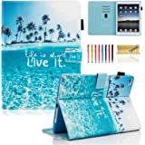 New iPad 2017 9.7 inch Case/iPad Air Case/iPad Air 2 Case, Dteck PU Leather Folio Smart Cover with Auto Sleep Wake Stand Wallet Case for New iPad 9.7 Inch 2017, iPad Air 1 2, Beach Live it