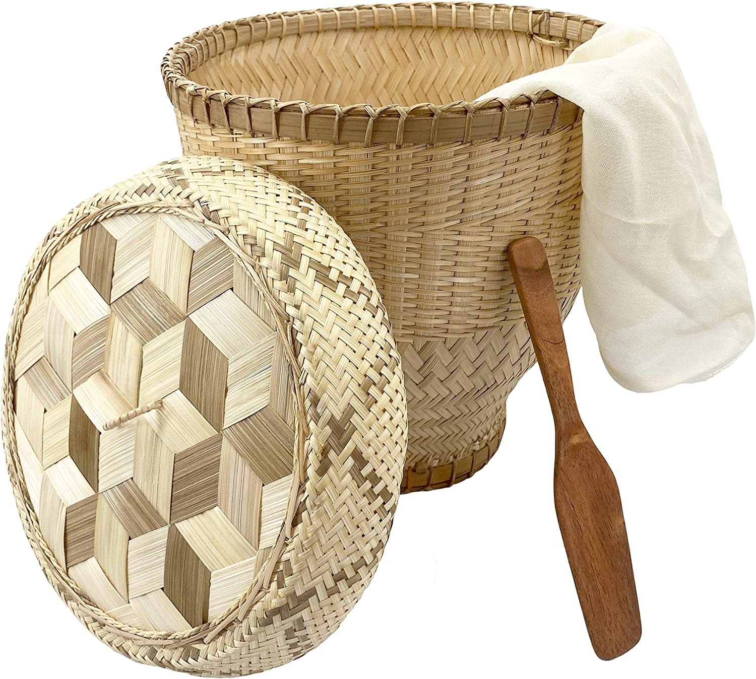 """Panwa Handmade 100% Natural Thai Bamboo Sticky Rice """"Professional Steamer Basket Set"""" Large, 11 inch Restaurant Grade, Wicker Woven Lid 24'' Cheesecloth Filter, and Wooden Spoon"""