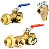 "Tankless Water Heater Flush Kit 3/4"" Lead Free Isolation Service Valves 3/4-Inch Temperature Pressure Relief Valve for Hot Water Heaters Single Handle Full Port IPS Isolator Brass NSF-61"