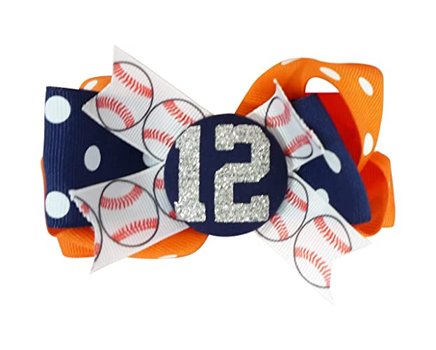 b3dfdfdaae7ce5 Amazon.com  Customized Colors or Orange Navy Baseball Hair Bow Flip with  Gltter Number  Handmade