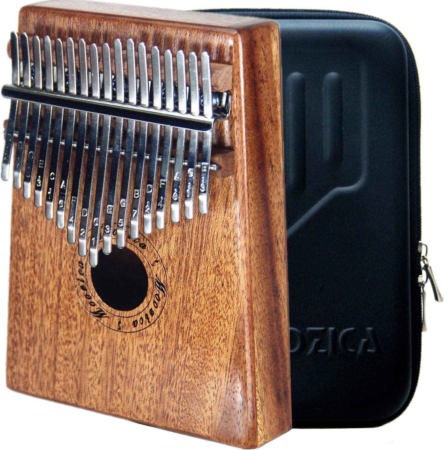 Acacia Koa, 21-Key Single Solid Wood Board Professional Kalimba Thumb Piano Marimba with Learning Instruction and High Performance Carrying Case MOOZICA 21 Keys Solid Koa Kalimba
