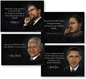 """Black History Posters Set (Men in Black History Decorations) Includes Obama Poster, The Mandela Poster, Martin Luther King Poster, and Malcolm X Poster - 13x18"""" NON LAMINATED"""