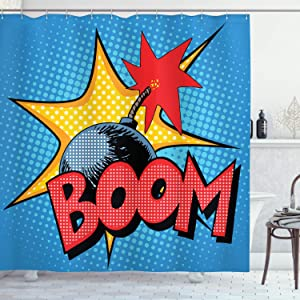 Vintage Decor Shower Curtain by Ambesonne, Retro Boom Bomp Flame Print on Dotted Background Comics Pop Art Image, Polyester Fabric Bathroom Set with Hooks, 75 Inches Long, Blue Red and Yellow