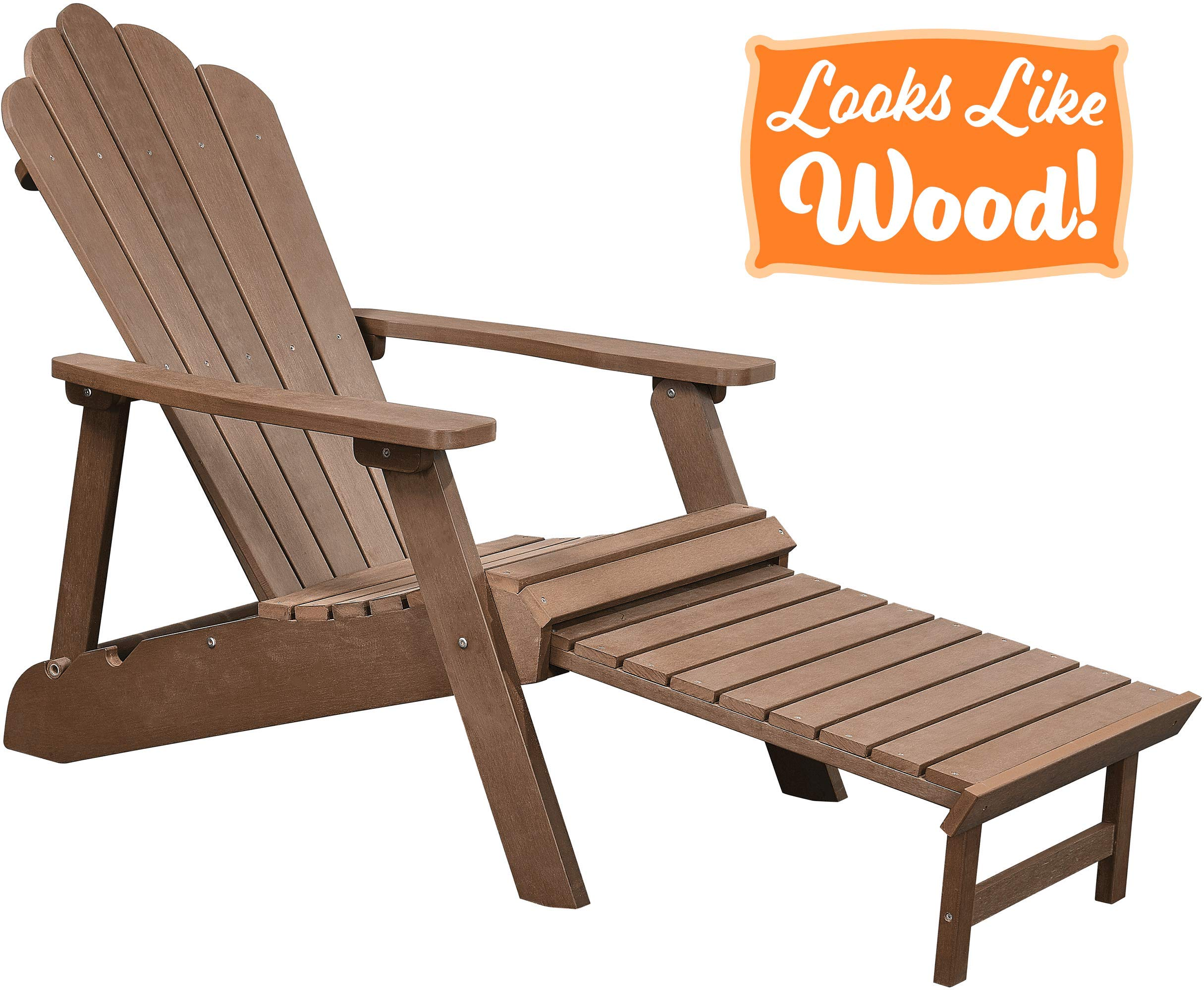 PolyTEAK Deluxe Oversized Reclining Poly Adirondack Chair with Pullout Ottoman, Walnut Brown | Adult-Size, Weather Resistant, Made from Plastic by PolyTEAK