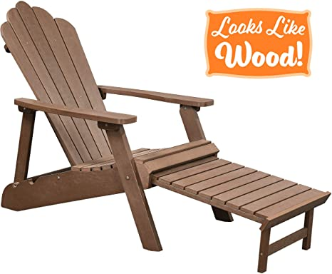 Amazing Polyteak Deluxe Oversized Reclining Poly Adirondack Chair With Pullout Ottoman Walnut Brown Adult Size Weather Resistant Made From Plastic Machost Co Dining Chair Design Ideas Machostcouk