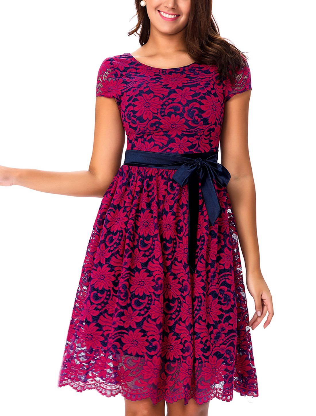 Noctflos Women's Floral Lace Contrast Bow Cocktail Wedding Party Swing Dress, Rose and Navy, 6/8