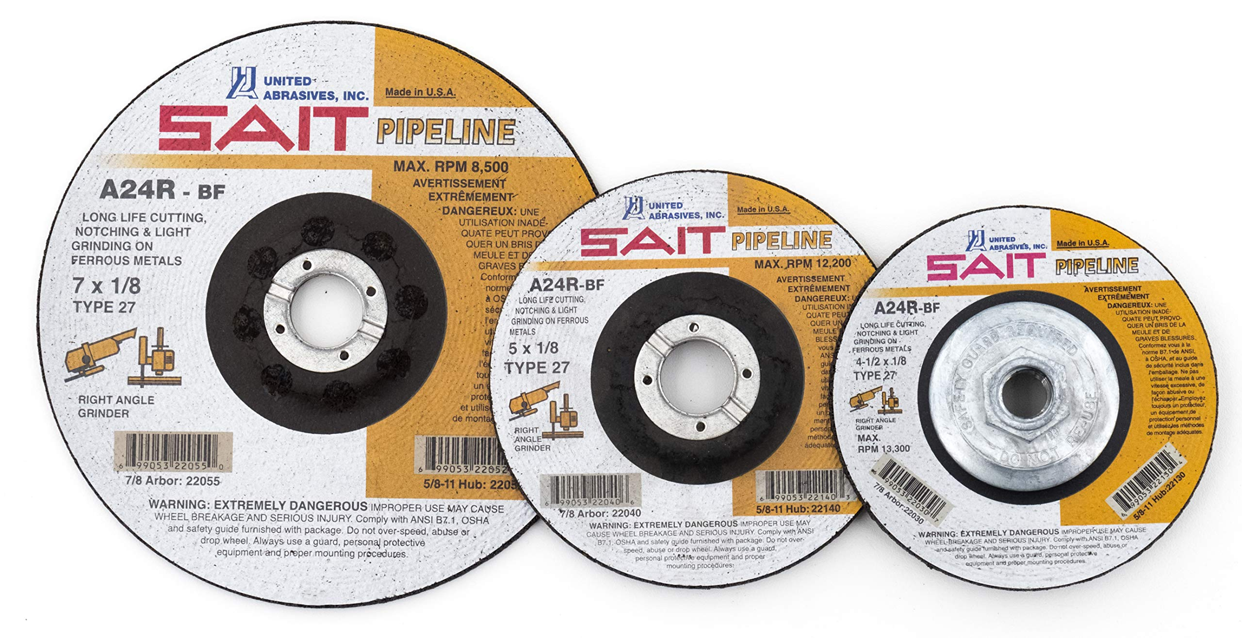 United Abrasives- SAIT 22042 Type 27 Cutting/Grinding Wheel A24R Pipeline, 6-Inch by 1/8-Inch by 7/8-Inch, 25-Pack by United Abrasives- SAIT