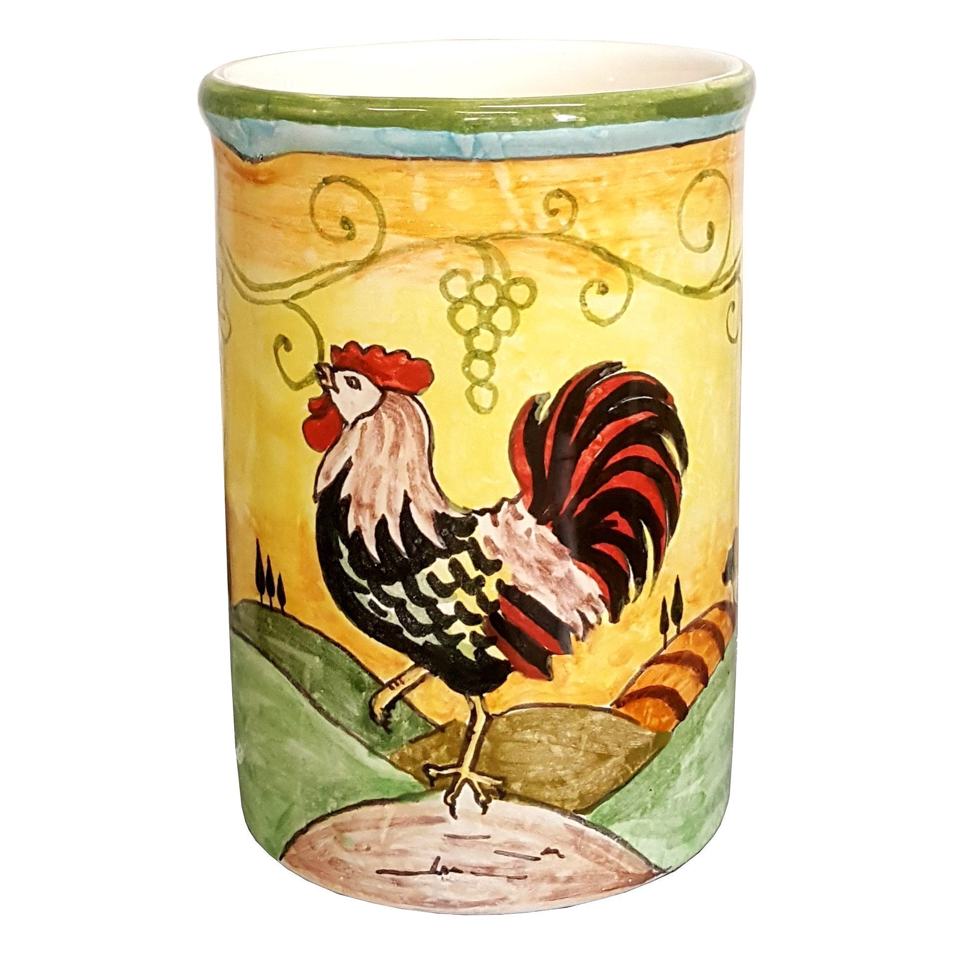 CERAMICHE D'ARTE PARRINI- Italian Ceramic Utensil Holder Vessel Hand Painted Decorated Tuscan Rooster Made in ITALY Art Pottery by CERAMICHE D'ARTE PARRINI since 1979