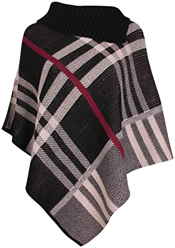 Womens Check Printed Ladies Stretch Knitted Collared Cape Wrap Shawl Jumper Poncho Top