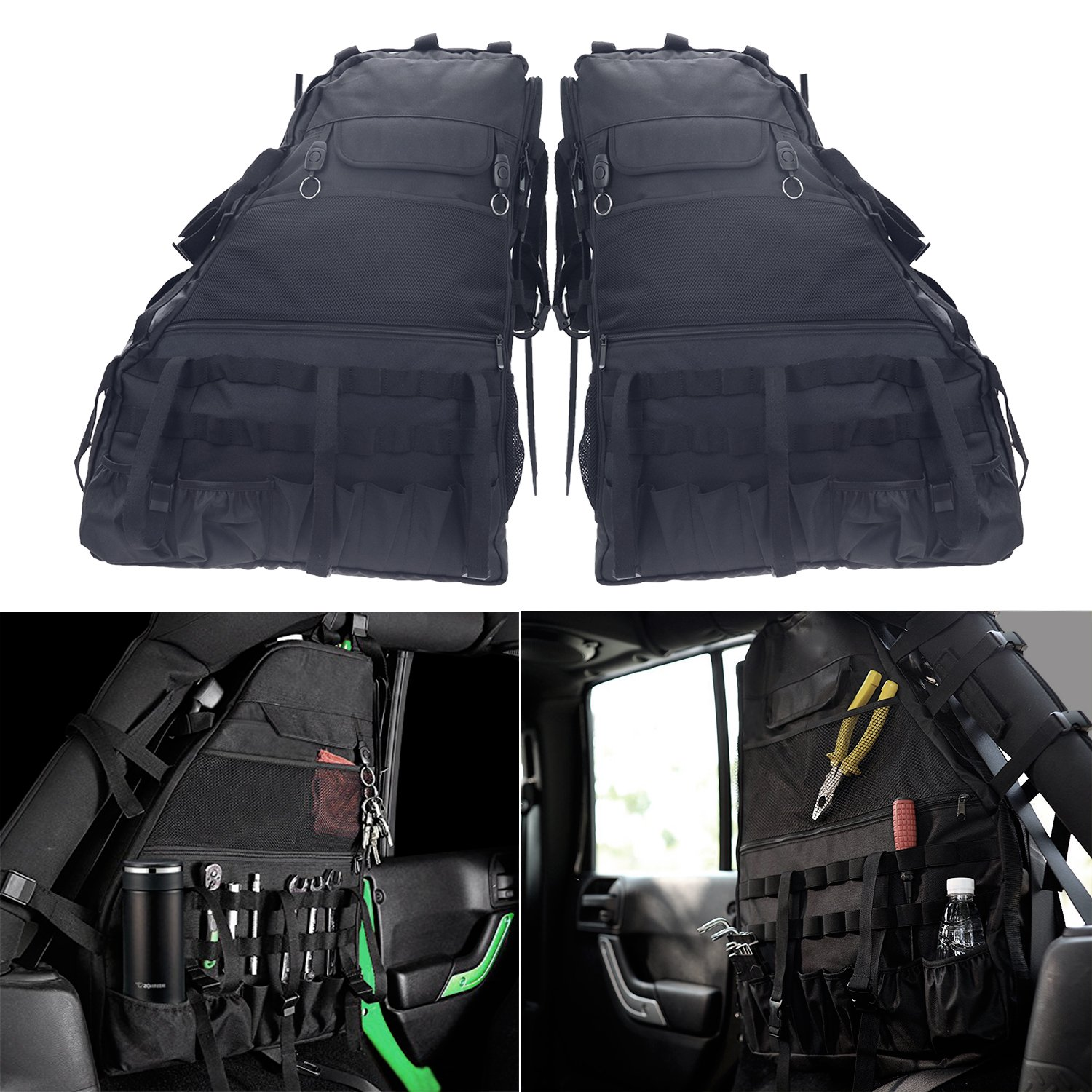 Roll Bar Storage Bag Cage with Multi-Pockets for Jeep Wrangler JK JKU TJ LJ Unlimited 4 Doors - Pack of 2 by Bolaxin