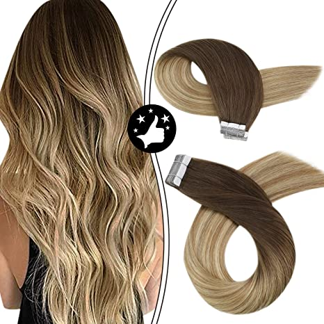 Image of Moresoo 14 Pulgadas Blonde Human Hair Extensions Tape in Remy Human Hair Color #6 Brown Root Ombre to #14 Highlight with #26 Blonde Balayage Ombre Hair Extensions Human Hair