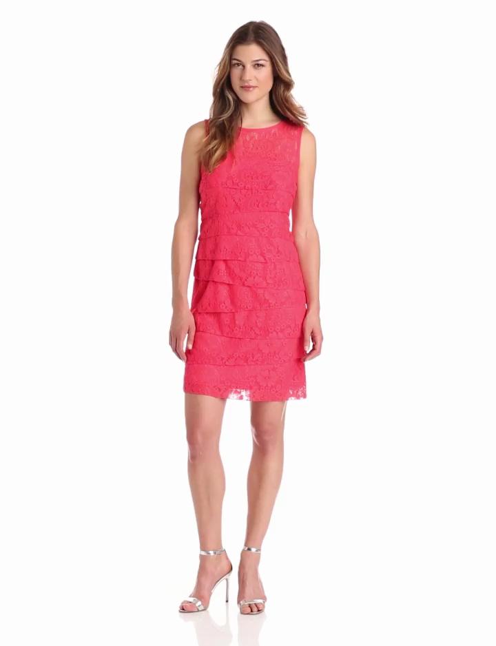 Jessica Howard Womens Sleeveless Shutter Pleat Dress, Coral, 6