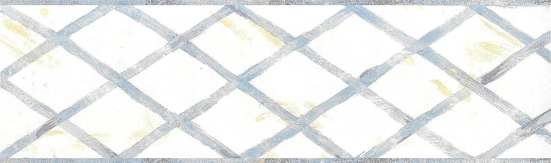 4,57 m x 9,53 cm Wandbord/üre Kettenzaun Tapetenbord/üre Retro-Design Blau vorgeklebt abstraktes Beige Dundee Deco BD6033 Tapeten Bord/üre Gelb