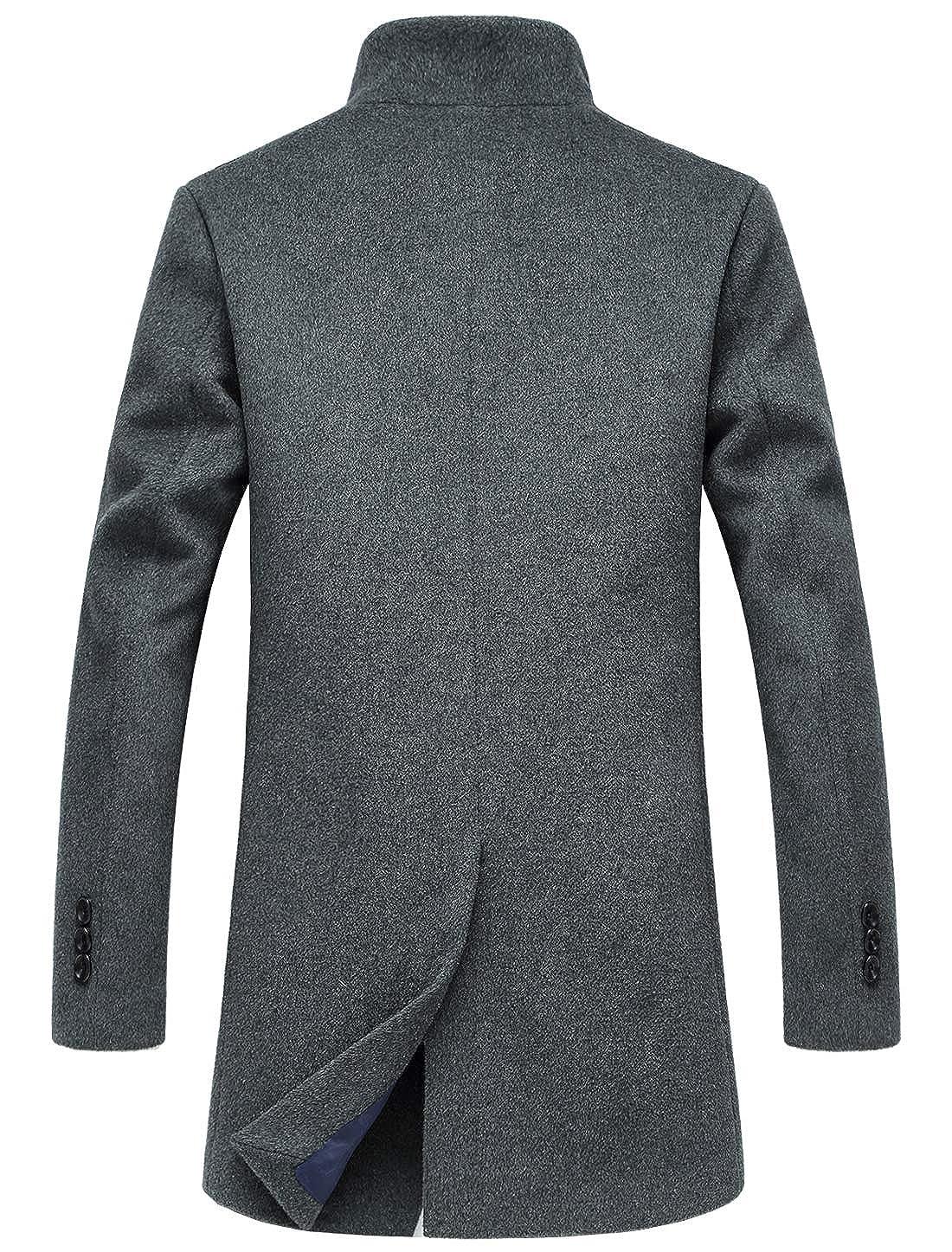 chouyatou Mens Mid-Length Single Breasted Wool Blend Top Coat