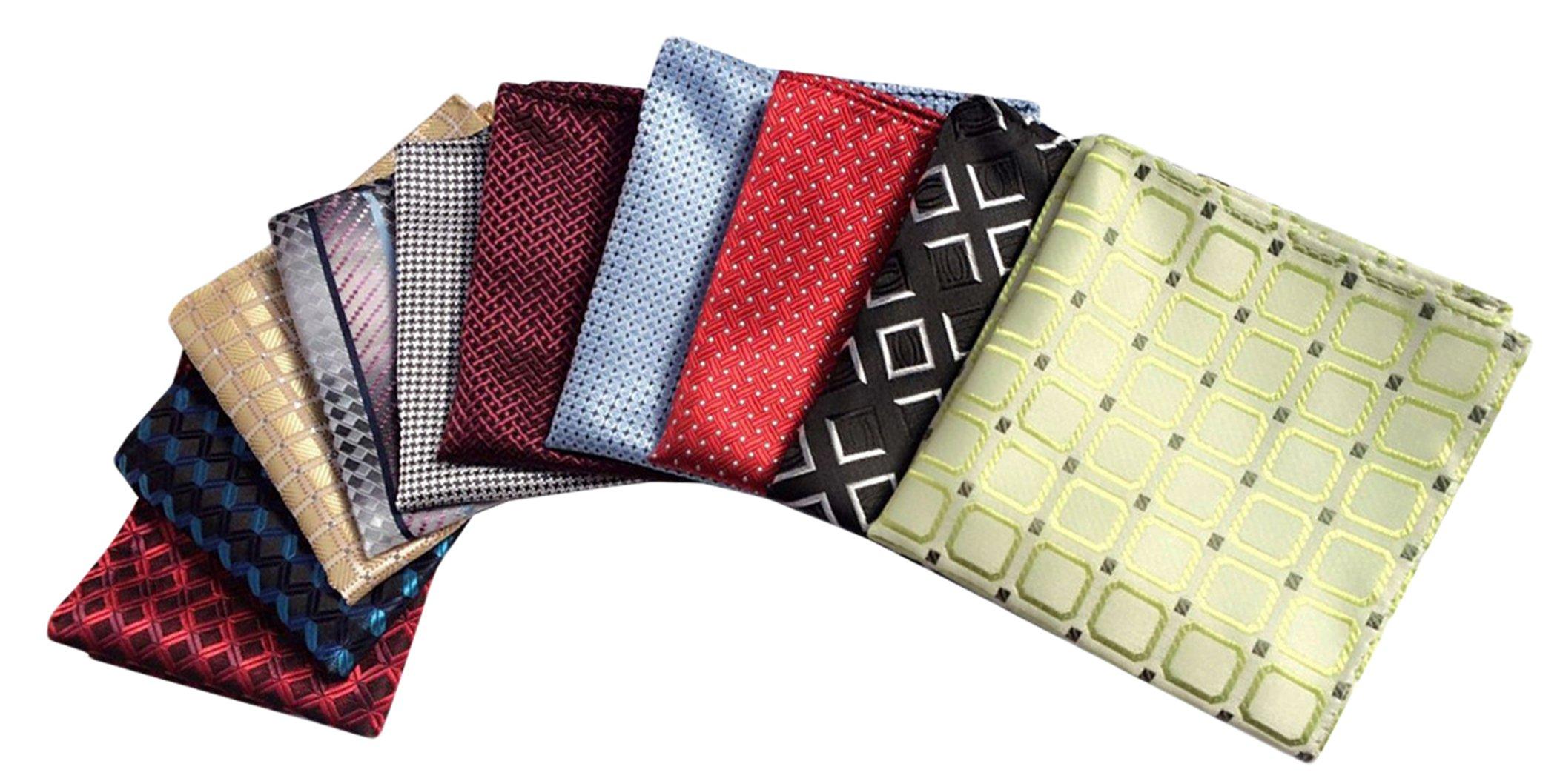 MENDENG Men's 10 Pack Plaid Check Assorted Pocket Square Silk Handkerchief Set
