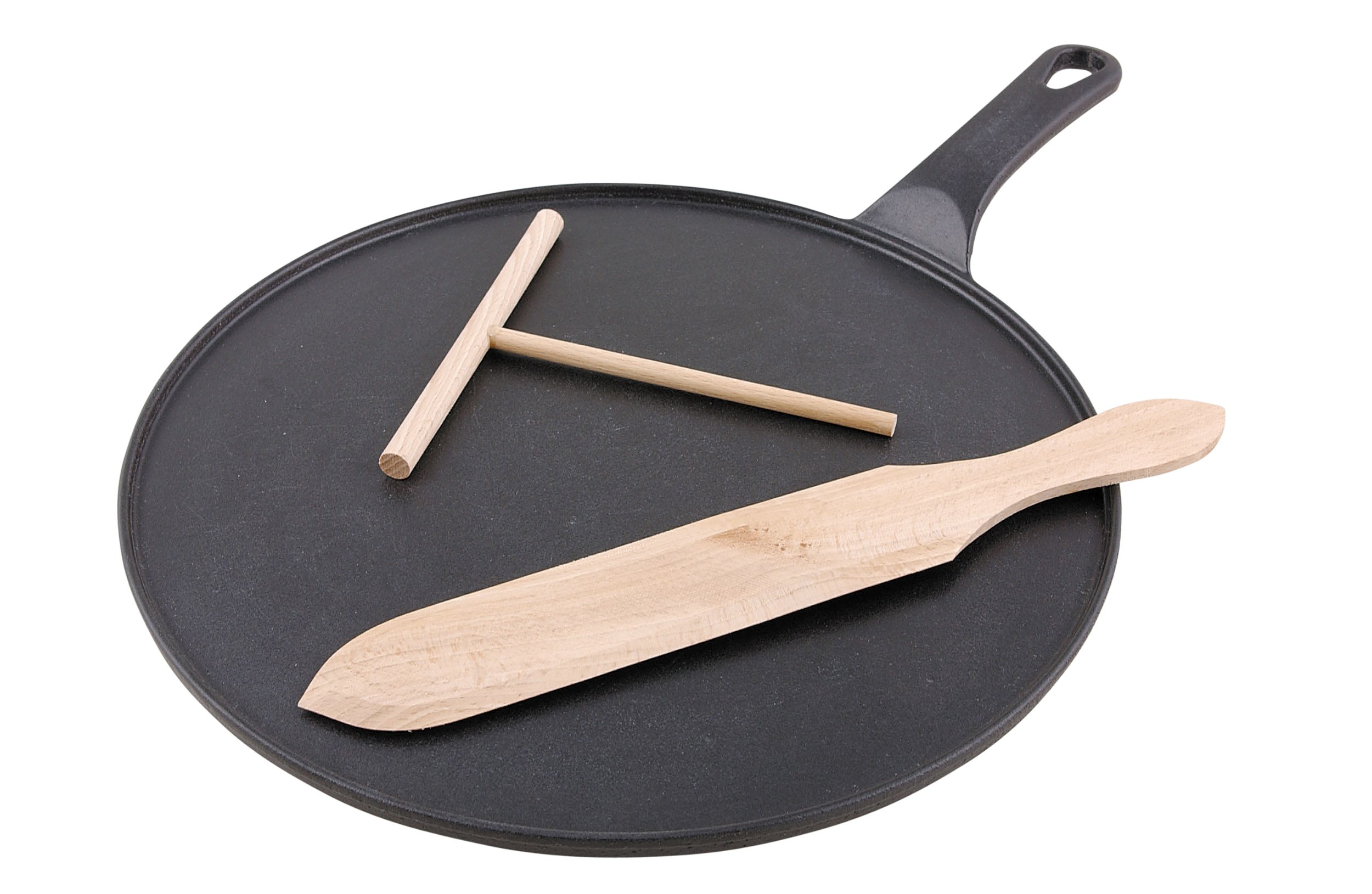 Chasseur Cast Iron Crepe Pan Set, Matt Black, 30 cm