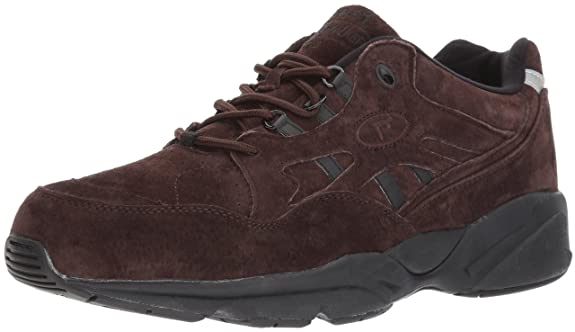 Propet Men's Stability Walker Walking Shoe, Brown Suede, 14 5E US