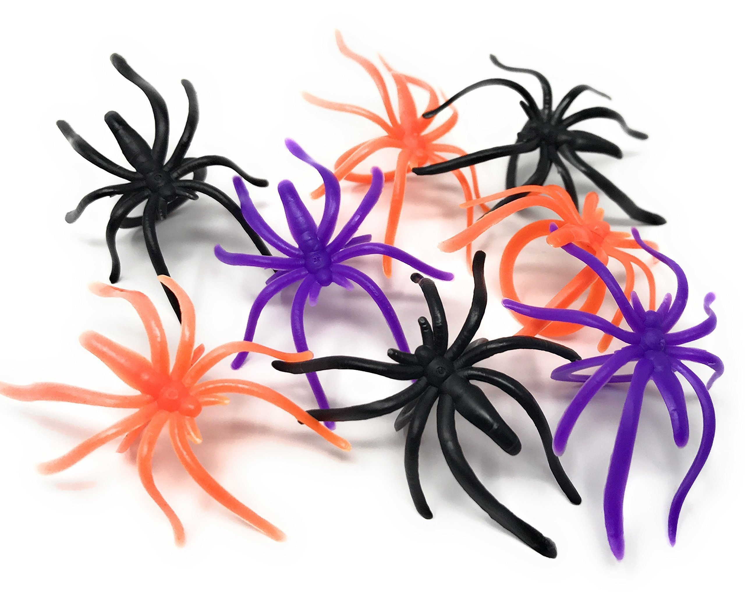 288 Bulk Halloween Spider Ring Assortment - Orange, Purple, Black, and Glow-in-The-Dark Creepy Crawly Party Favors, Treats, and Cupcake Toppers