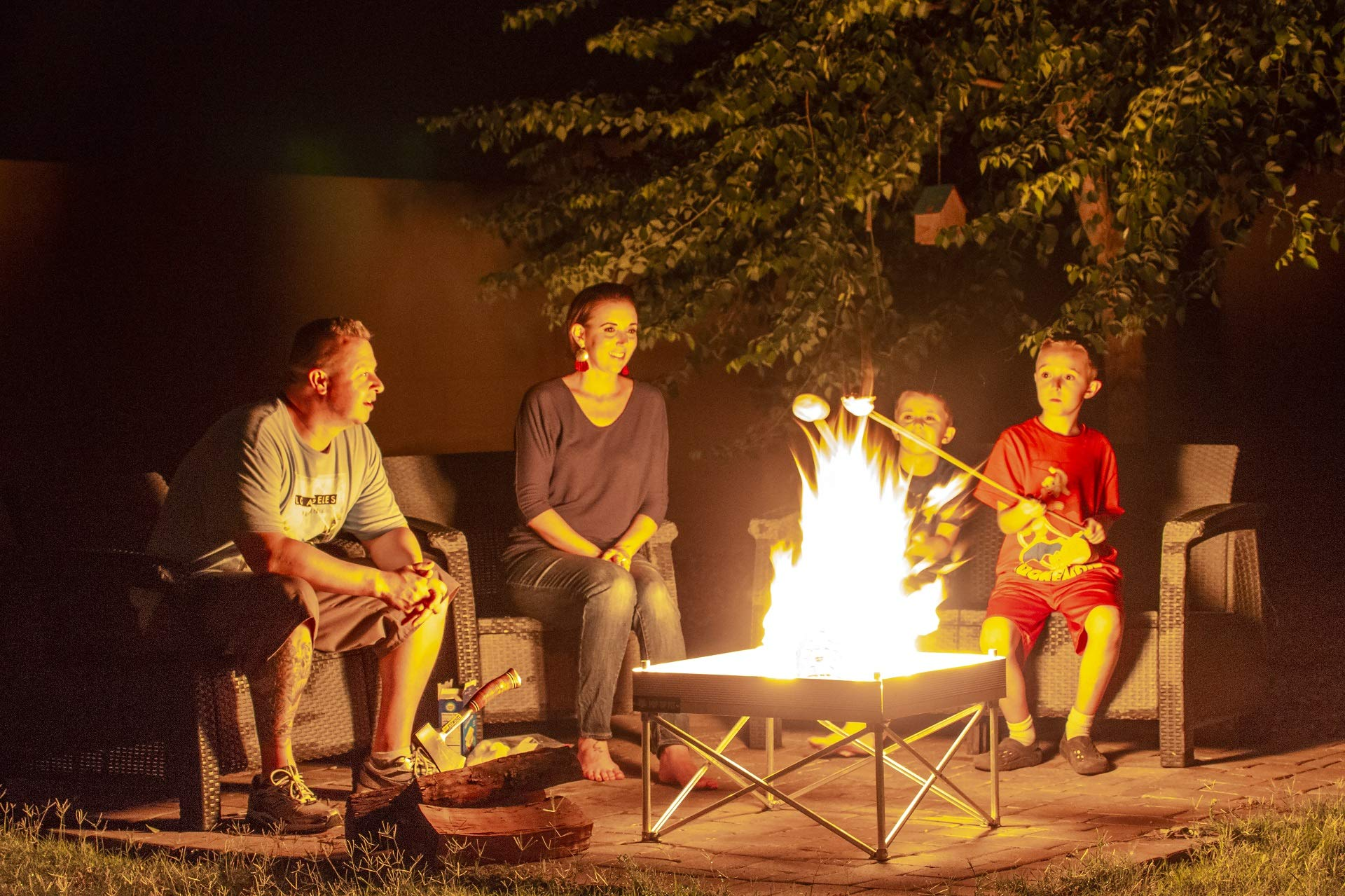 Pop-Up Fire Pit - Portable Outdoor Fire Pit for Patio, Backyard or Backwoods. Clean Burn Tech, Less Smoke - Great For Tailgating, Cabins, RV's and the Beach (Pop-Up Pit Base Kit)