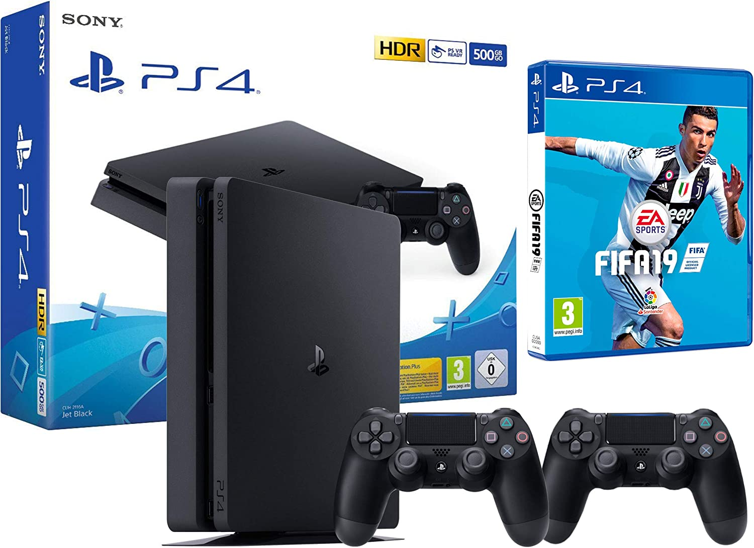 PS4 Slim 500Gb Negra Playstation 4 Consola + 2 Mandos Dualshock 4 + FIFA 19: Amazon.es: Videojuegos