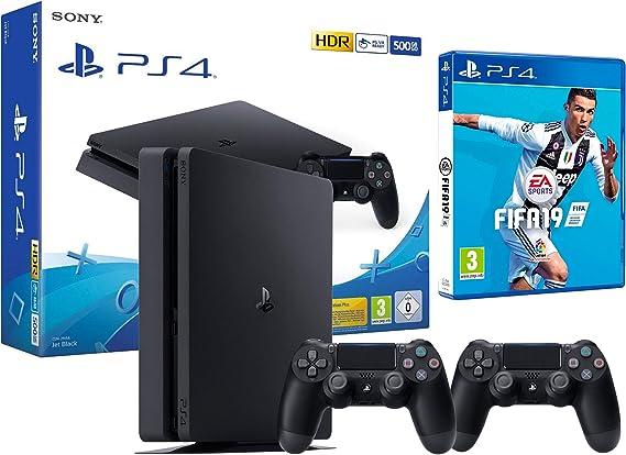 PS4 Slim 500Gb Negra Playstation 4 Consola + 2 Mandos Dualshock 4 + FIFA 19: Amazon.es: Videojuegos