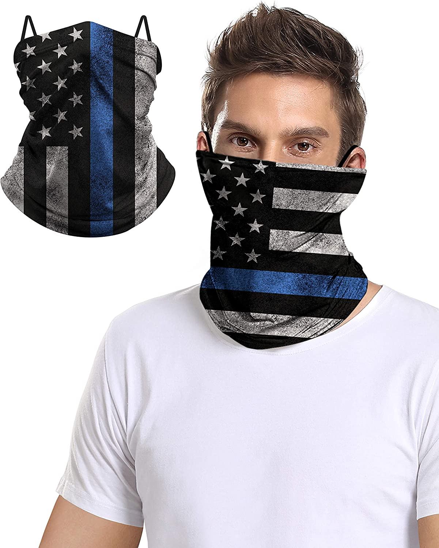 Outdoor Face Neck Cover Gaiter Tube Bandana Headband Guard Scarf With Ear Loops